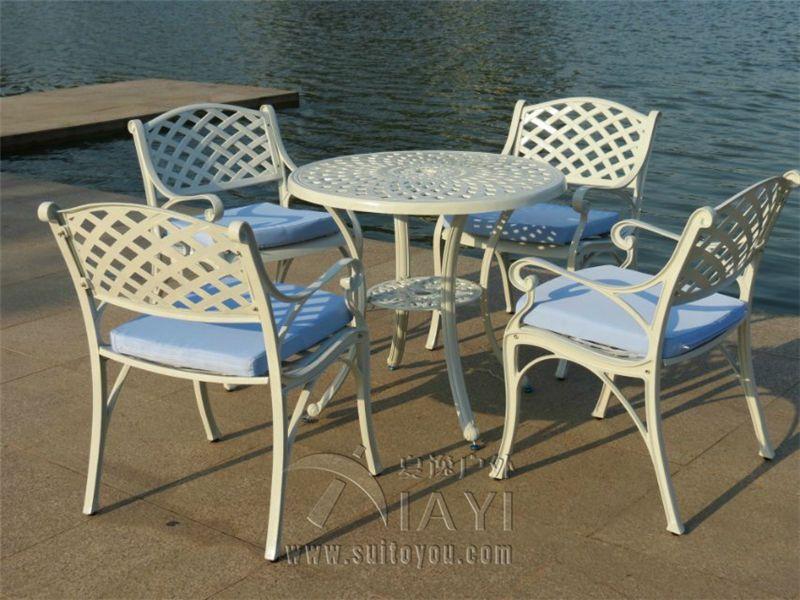 5 Piece Cast Aluminum Patio Furniture, Solid Cast Aluminum Patio Furniture