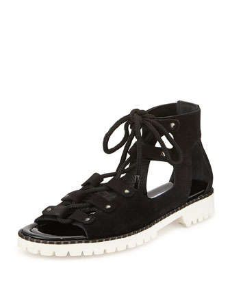 Wylde+Suede+Lace-Up+Sandal,+Black+by+Jimmy+Choo+at+Neiman+Marcus.
