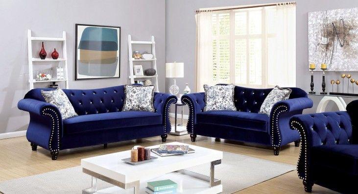 Jolanda Blue Flannelette Fabric Living Room Set In 2021 Blue Living Room Decor Blue Sofas Living Room Blue Sofa Living