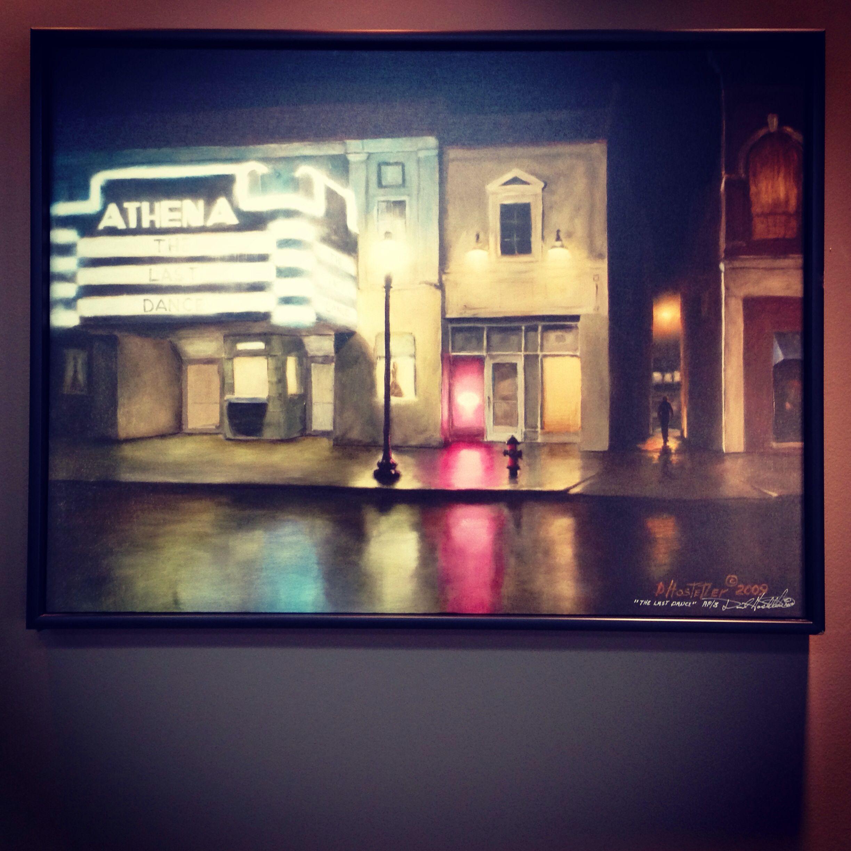 Painting of Athena court street Athens Ohio