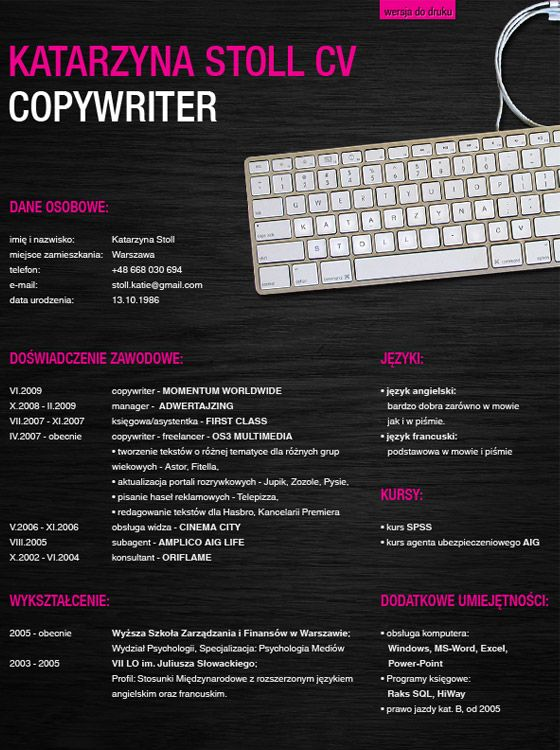 Katarzyna-Stoll-copywriter-CVjpg (560×750) CV Pinterest - copywriter advertising resume