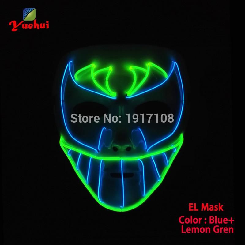 New Design El Wire Trendy Carnival Terror Glowing Mask Night Bat Face Mask Led Neon Glowing Party Halloween Supplies 3v Driver Halloween Supplies Led Mask Mask Party