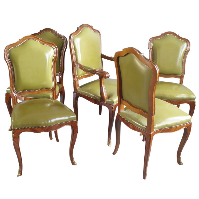 Set Of Ten Louis XV Style Leather Dining Chairs