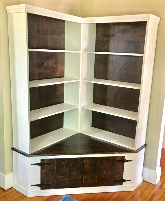 Shabby Chic Corner Bookcase With Seat | Corner shelves ...