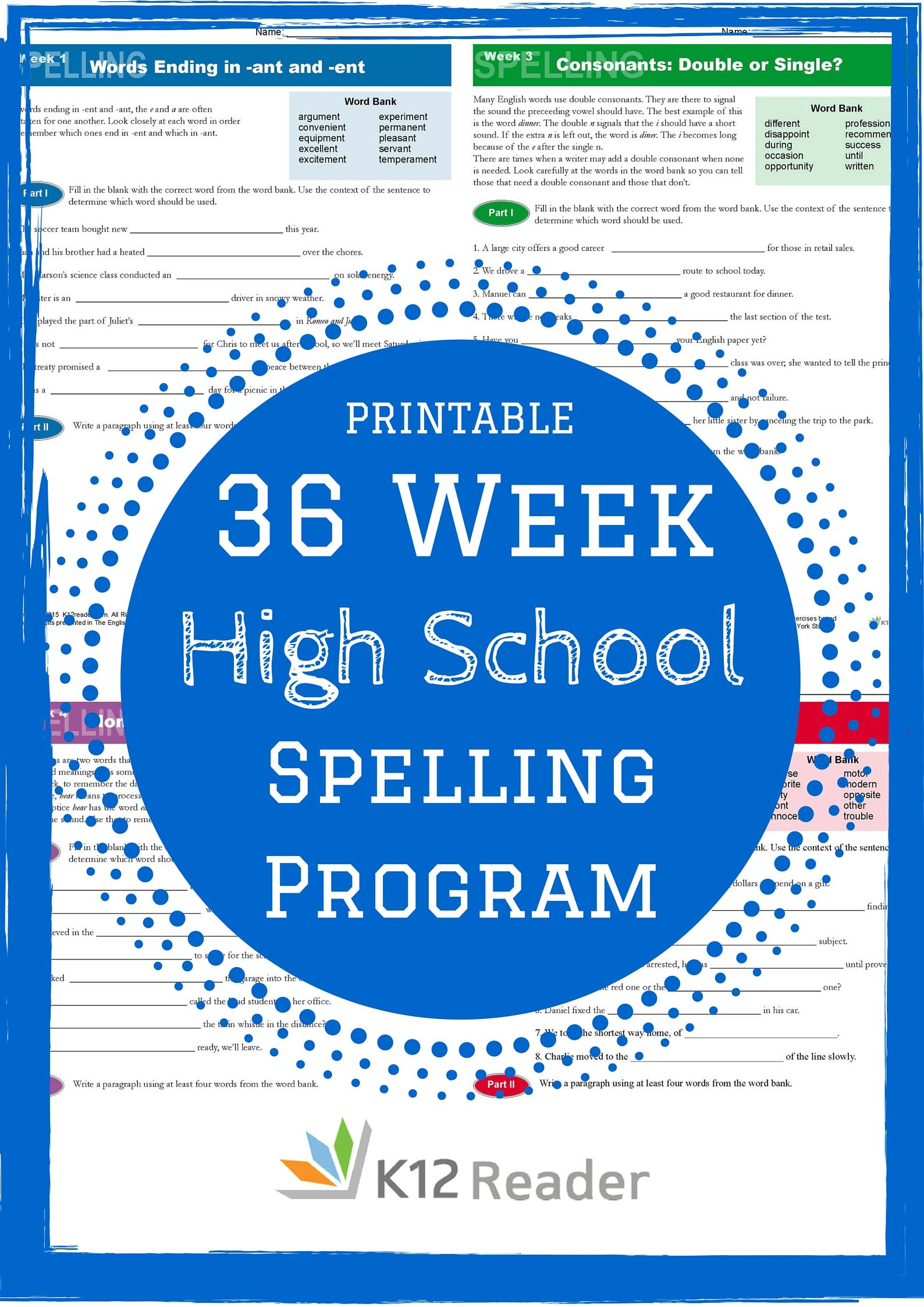 High School Spelling Words Program