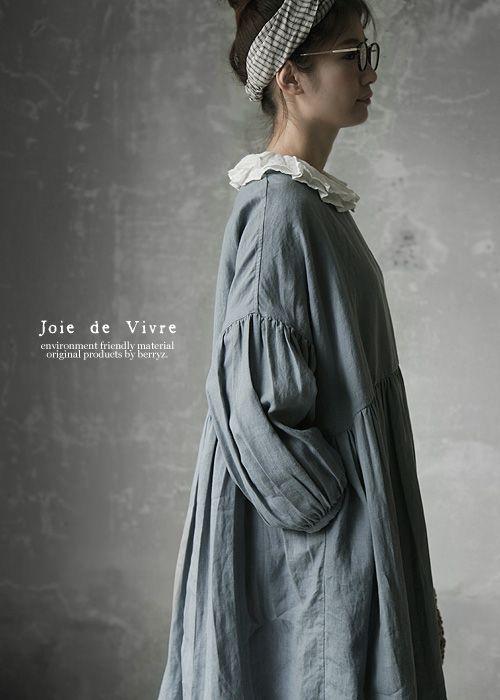 【送料無料】Joie de Vivreリネンクロシェボタンギャザーアンティークワンピース