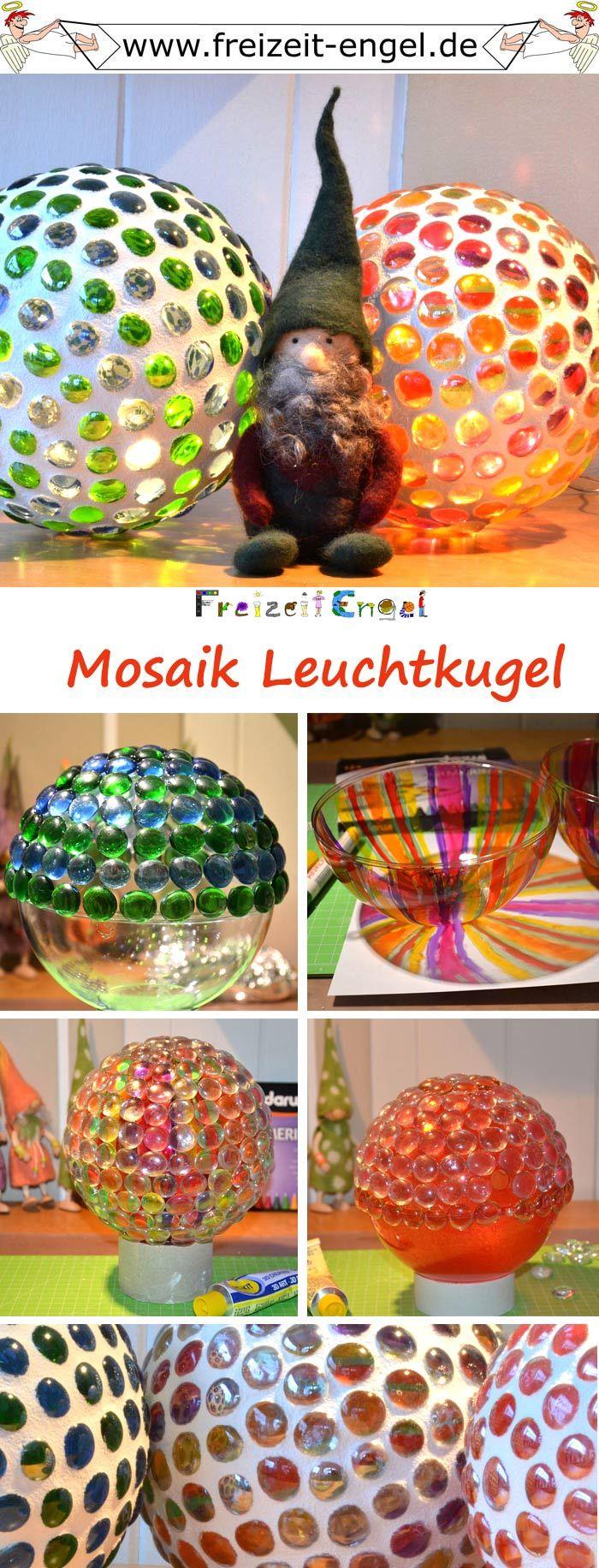 mosaik leuchtkugel mit glas nuggets eine kunststoffkugel best cken lichterkette rein und ber. Black Bedroom Furniture Sets. Home Design Ideas