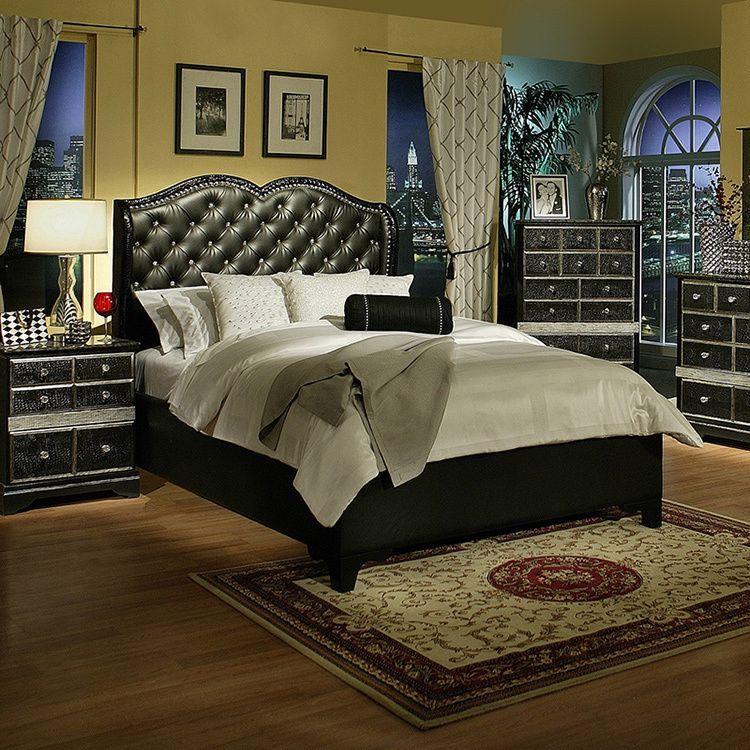 Sandberg Furniture Hollywood Glamour Black Chase Bed | Overstock.com ...