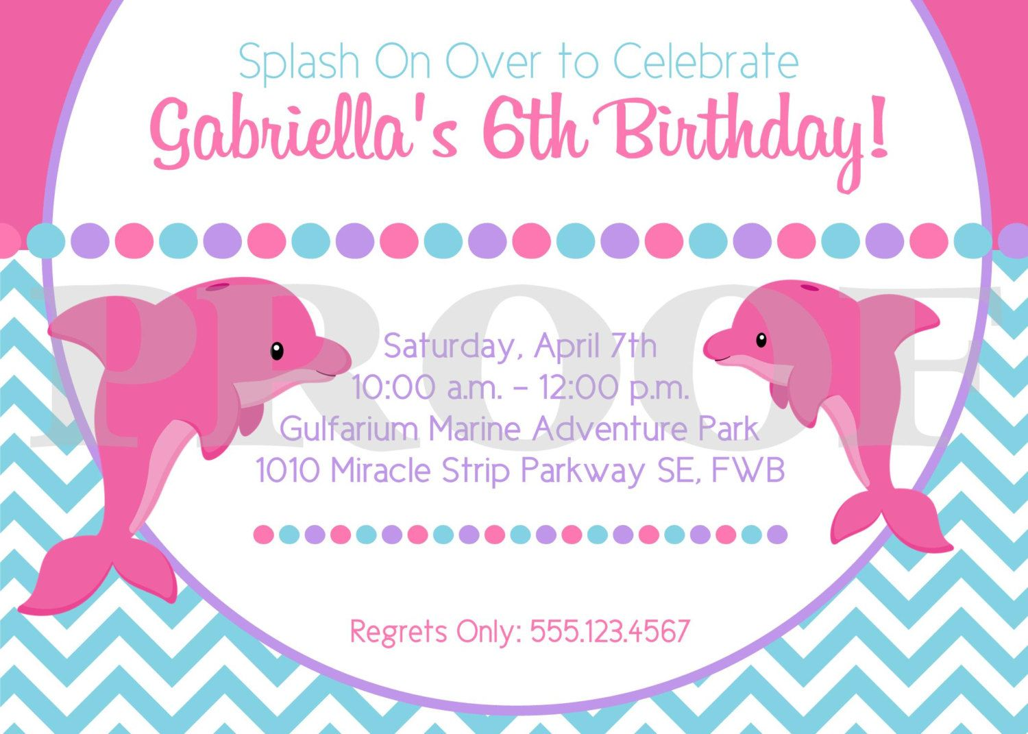PRINTABLE Pink Dolphin Birthday Party Invitation / Pink and Purple ...