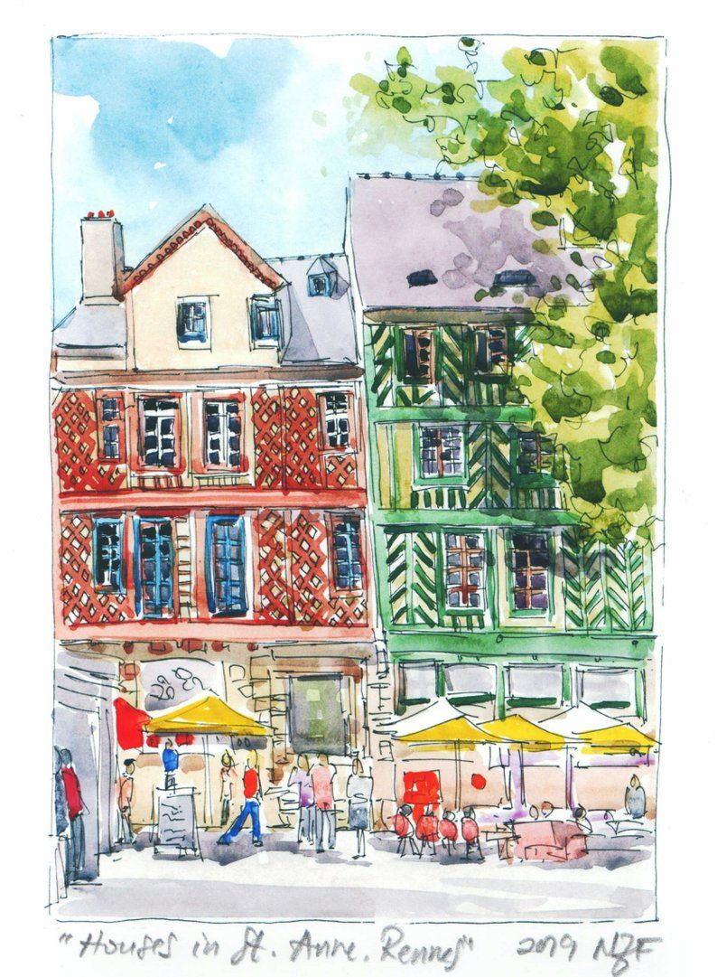 Houses Painting Architecture Art Rennes Watercolor Wall Art
