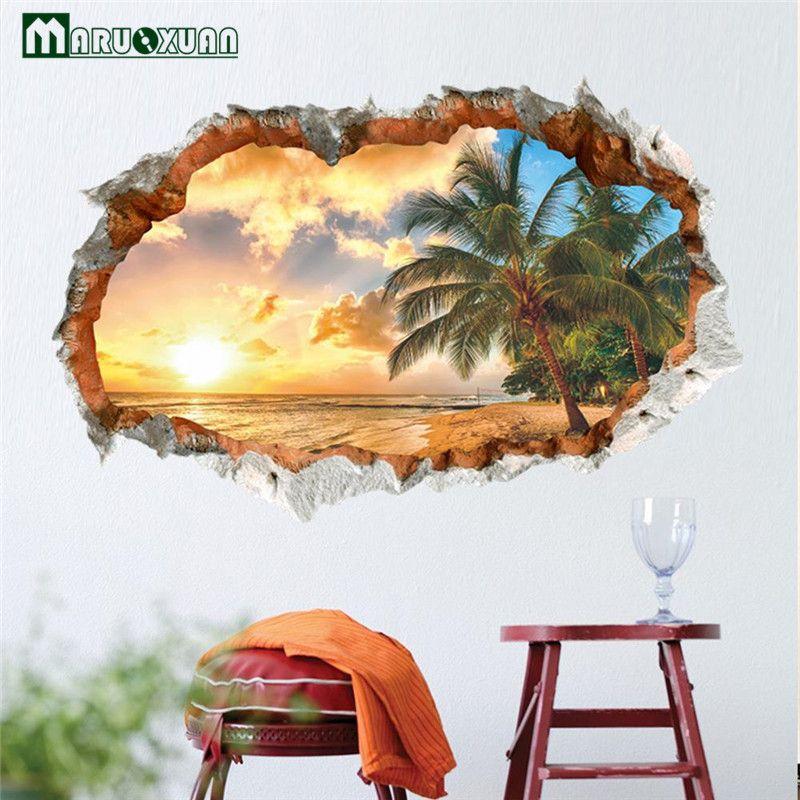 Sunny Beach 3D Gebrochen Der Schlafzimmer ein Wohnzimmer Hintergrund Wandsticker Außenhandel Großhandel Wasserdichte