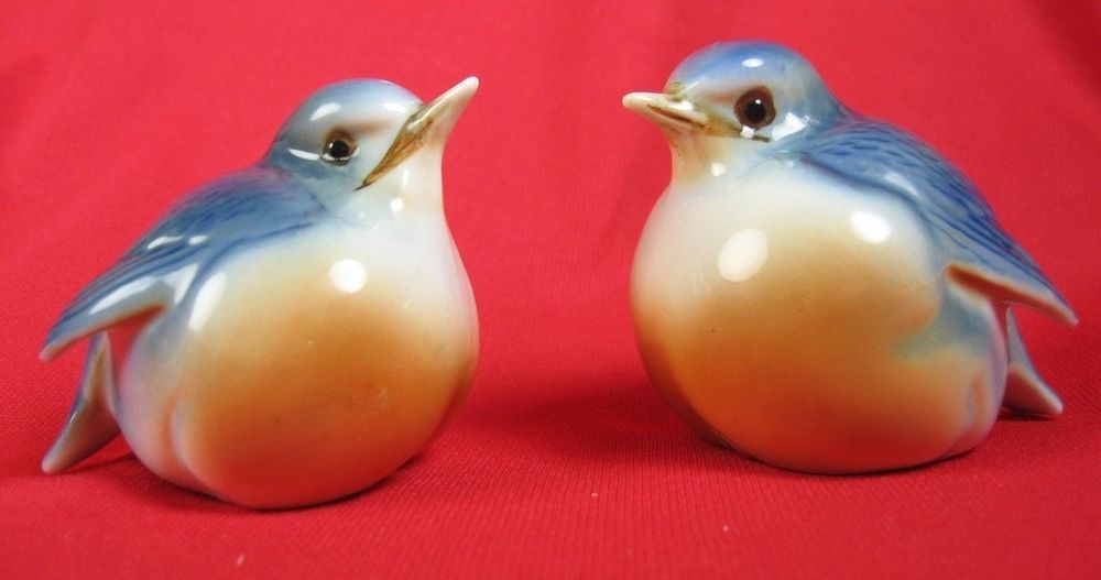 Vintage Blue Birds Salt Amp Pepper Shakers Bone China