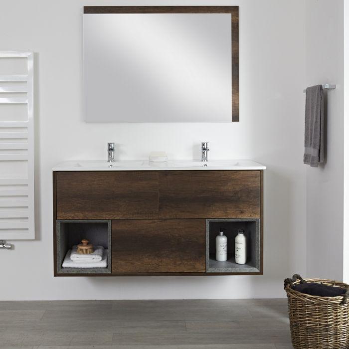 Hangend Wastafelmeubel Donker Eiken Met Dubbele Wastafel 121cm X 46 5cm 2 X 1 Kraangat Wit Hoxton Double Basin Vanity Units Shelf Vanity Bathroom modern vanity units milano