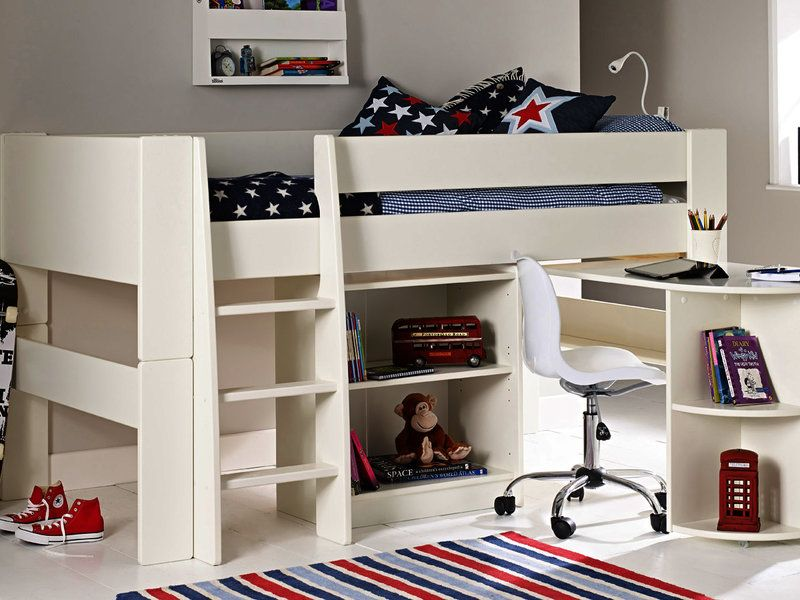 Solitaire white midsleeper with pull out desk and bookcase for Small pull out desk