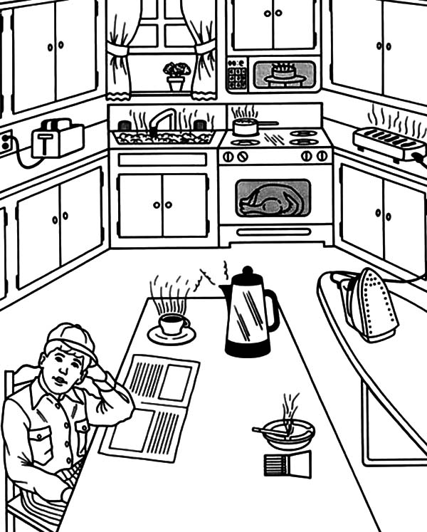 Waiting For Breakfast In The Kitchen Coloring Pages Download Print Online Coloring Pages For Free Co Online Coloring Pages Coloring Pages Online Coloring