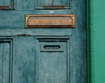 Perfect Blue Door, Mail Slot, Green, Square Photograph