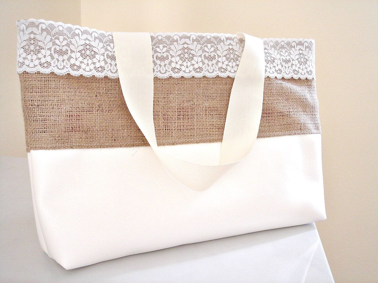 Beach wedding gift bags  Burlap and faux leather purse Large tote trendy beach bag Shopping