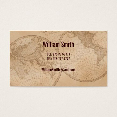 Business Cards old map globe | Zazzle com | Flight Attendant