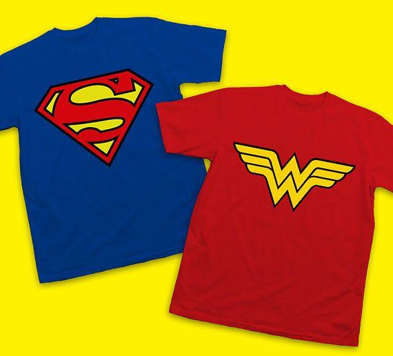 81b99e1ce7 Couples Superman and Wonder Woman Logo T-Shirts Superhero | Superman ...