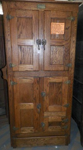 This is a White Clad Oak Icebox reproduction cabinet from the ...