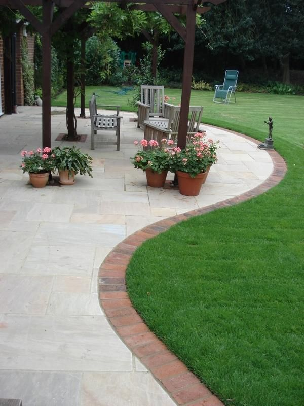Indian Sandstone with brick edging  | gardening ideas    | Garden