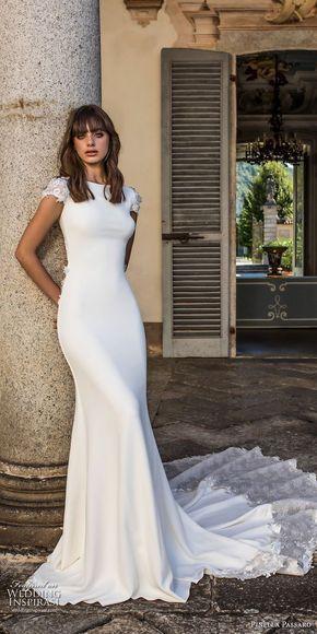 pinella passaro 2018 bridal cap sleeves bateau neck simple clean elegant classy fit and flare sheath wedding dress keyhole back chapel
