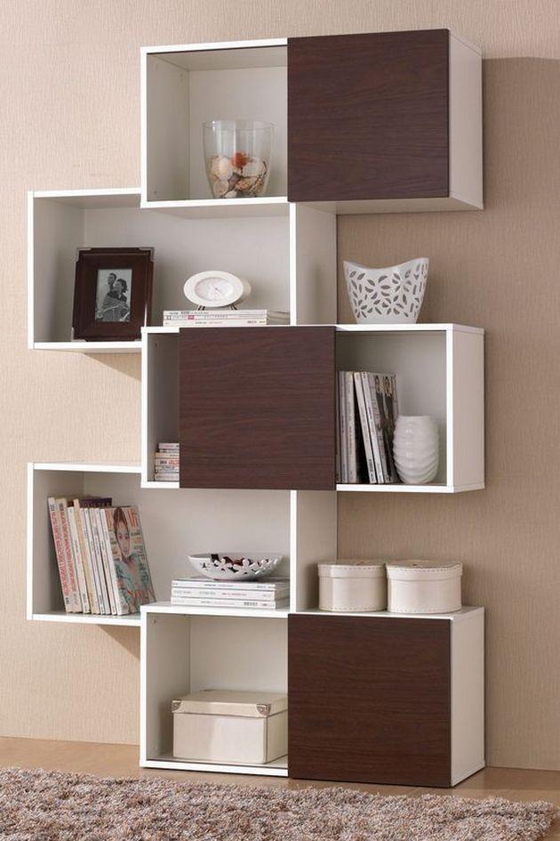 Natural Veneered Wooden Flush Door Design Mdf Living Room: Bookshelves Decorating Ideas For Living Room (With Images