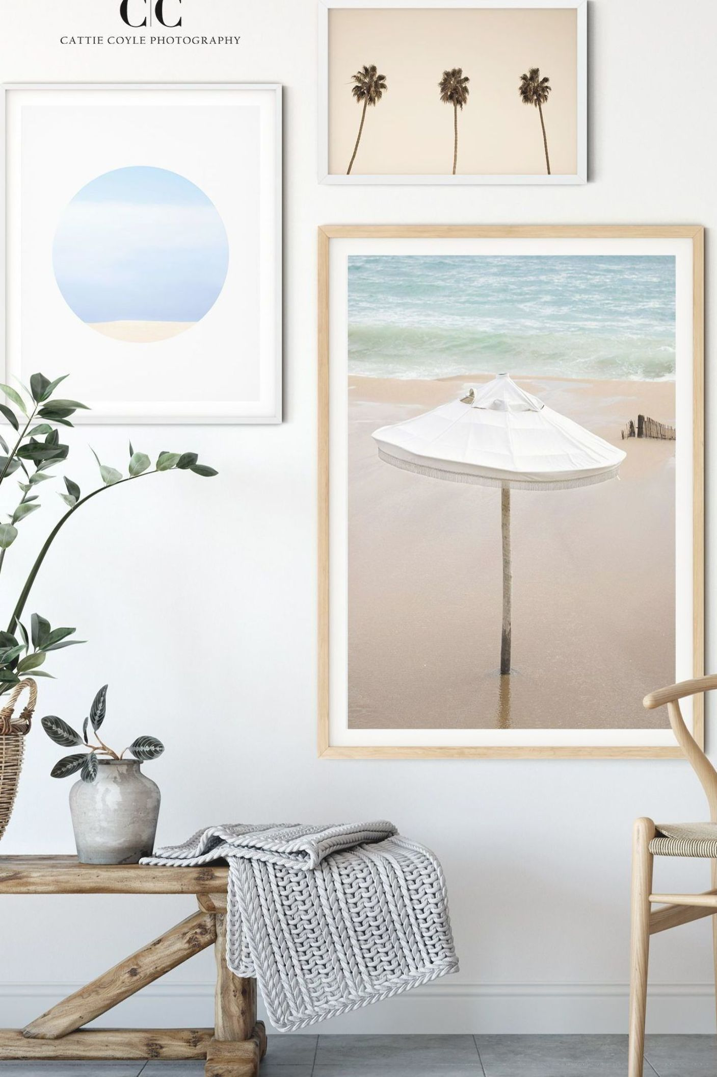 Coastal Gallery Wall With Blue And Neutral Art A Beautiful Way To Bring The Beach Into Your Home By Cre In 2020 Coastal Gallery Wall Coastal Wall Art Art Gallery Wall
