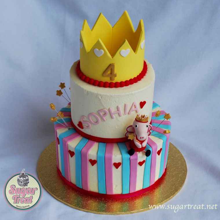 Peppa Pig 2 tier cake for the 4th birthday of a little girl with