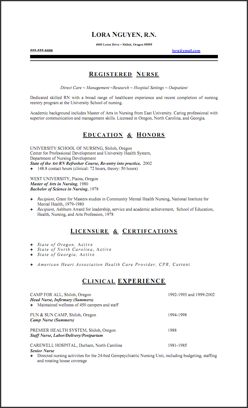 Nursing Resumes Examples Free Professional Resume Templates  Free Registered Nurse Resume