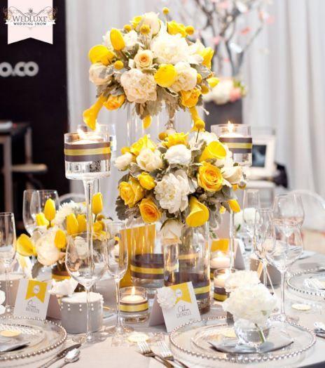 yellow reception wedding flowers, wedding decor, yellow wedding
