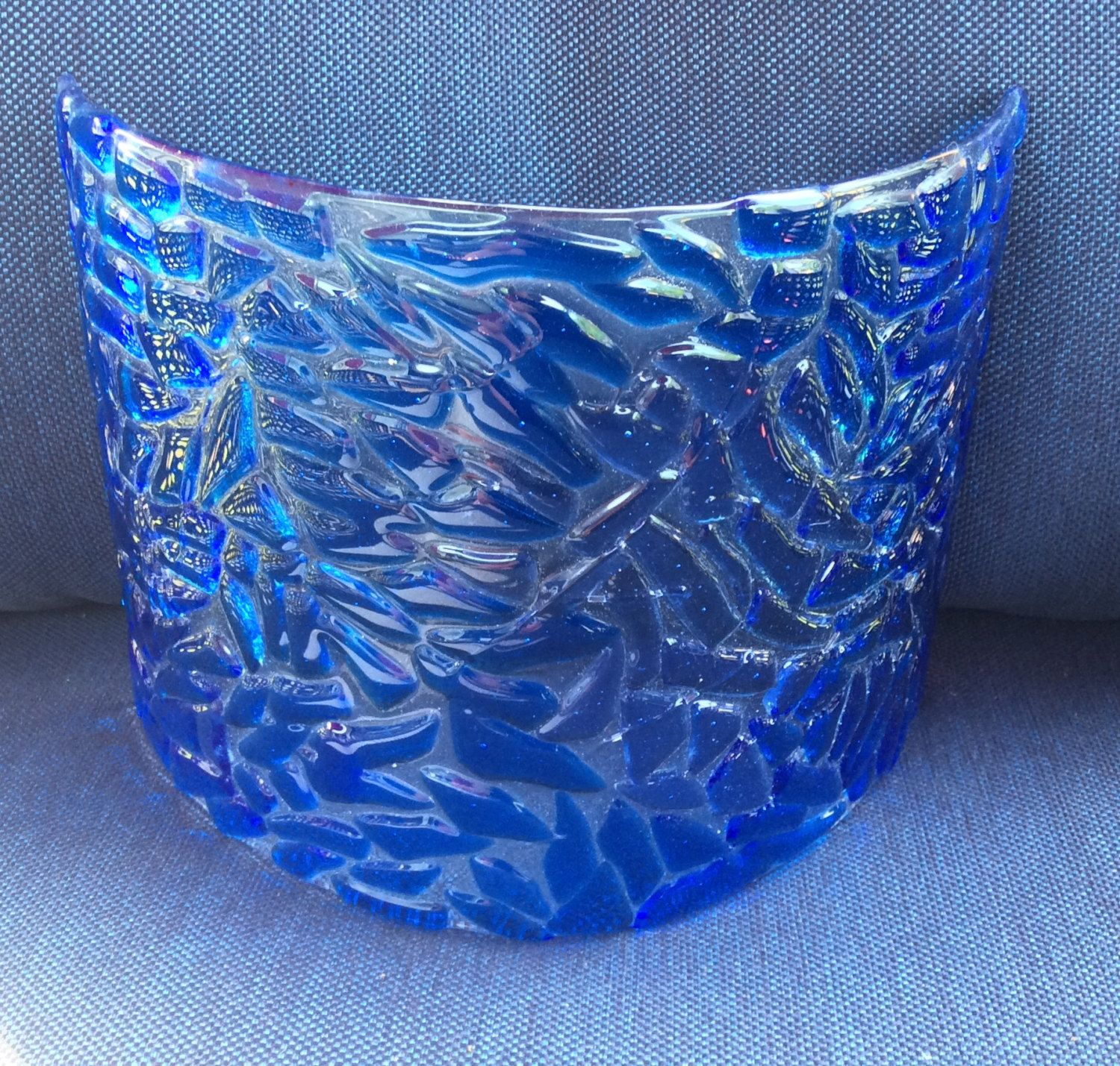 Carribean Blues Fused Glass Candle Screen by LakesideGlass on Etsy