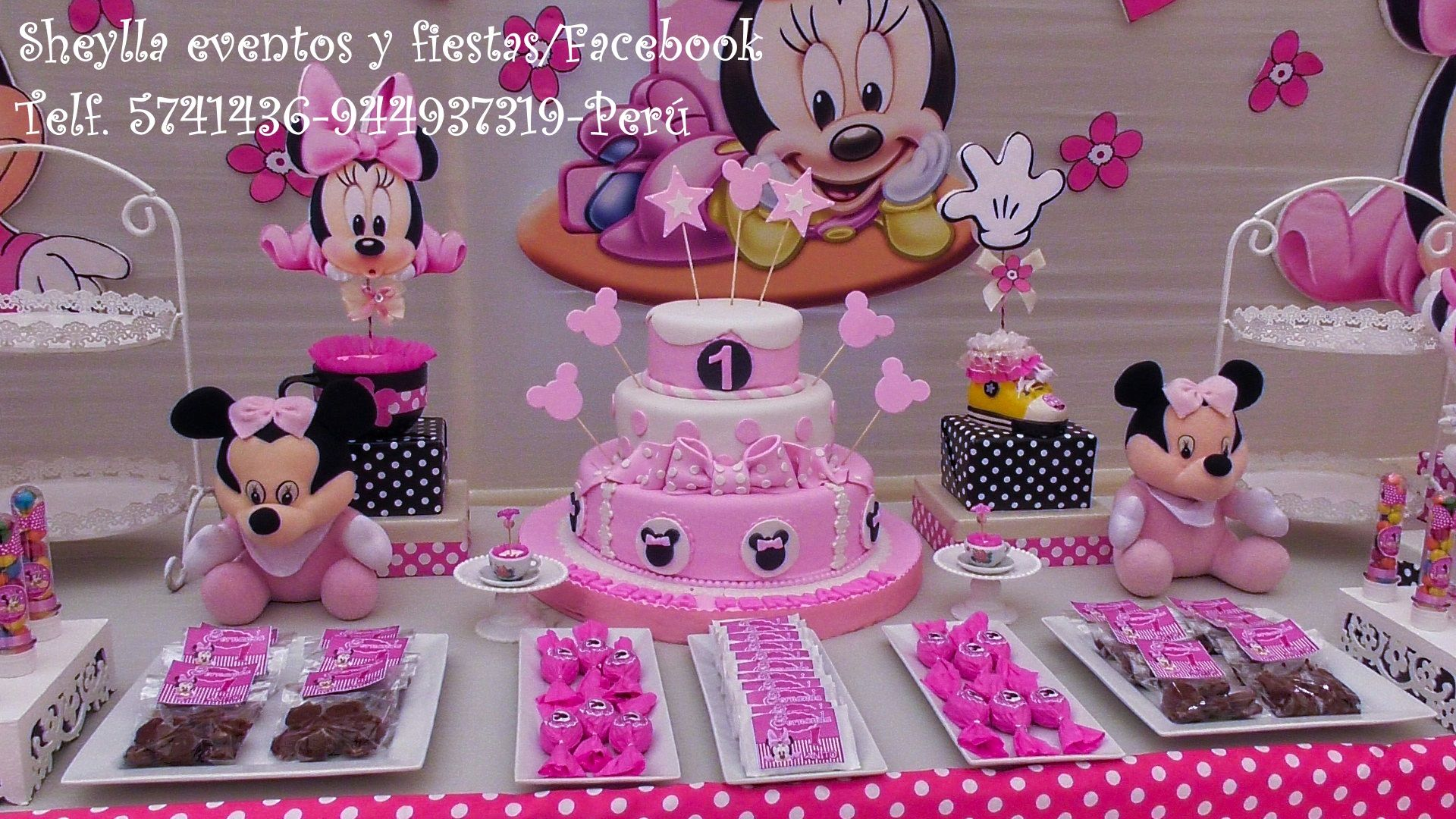 Torta bocaditos personalizados centros de mesa minnie for Decoracion bebe