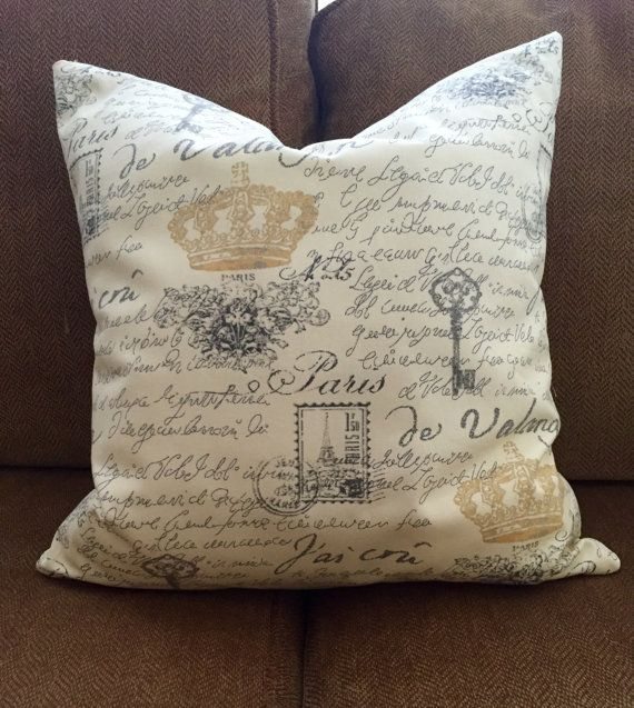 French Country Pillow Yellow And Gray Decorative Pillow French Custom French Country Decorative Pillows