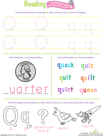 Get Ready for Reading: All About the Letter Q | Pinterest | Zeichen ...