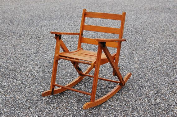 Folding Rocking Chair Wood Arm Protectors Uk Child S Nevco Oak Vintage Wooden Rockingchair Sold