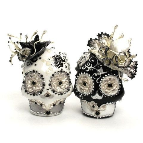 Black And White Wedding Skull Cake Toppers Ceramic Gothic