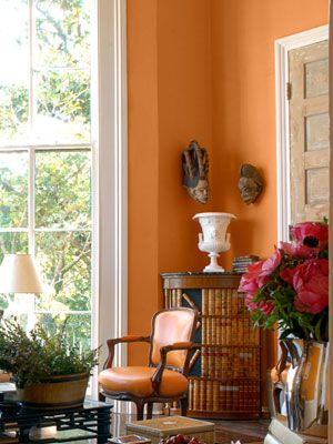 Orange is a great color to live with i need an orange room painting techniques paint colors - Orange walls living room ...