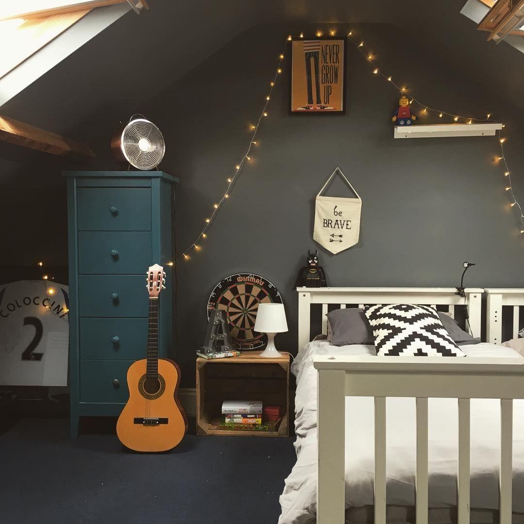 Older Boys Bedroom Industrial Decor Dark Interiors Cool