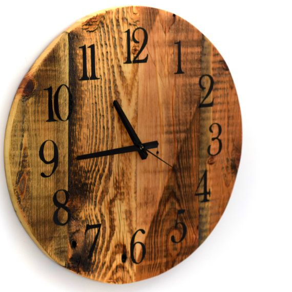 Oversized Round Wall Decor : Reclaimed barn wood clock large round wall