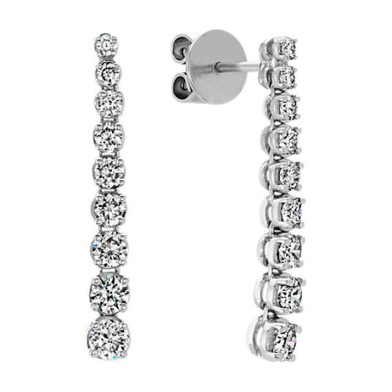 Round Diamond Dangle Earrings In 14k White Gold 2019