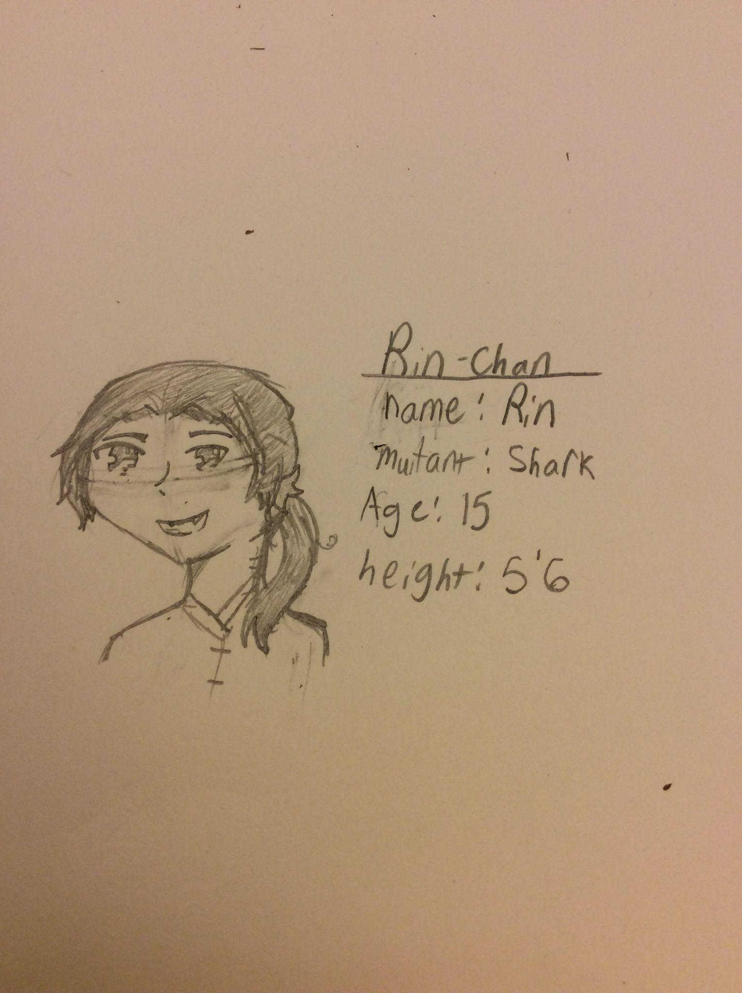 This is my shark baby Rin. He is a shark baby. The gender is unknown. Rin: hey.