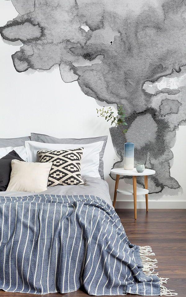 Soft Gray Watercolor Wall Mural Cosy home decor, Grey