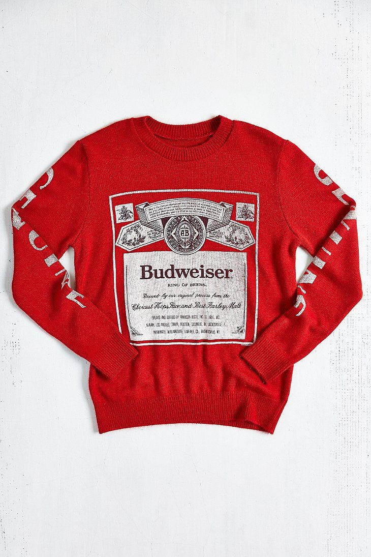 Junk Food Budweiser Crew Neck Sweater- Red from Urban Outfitters ...