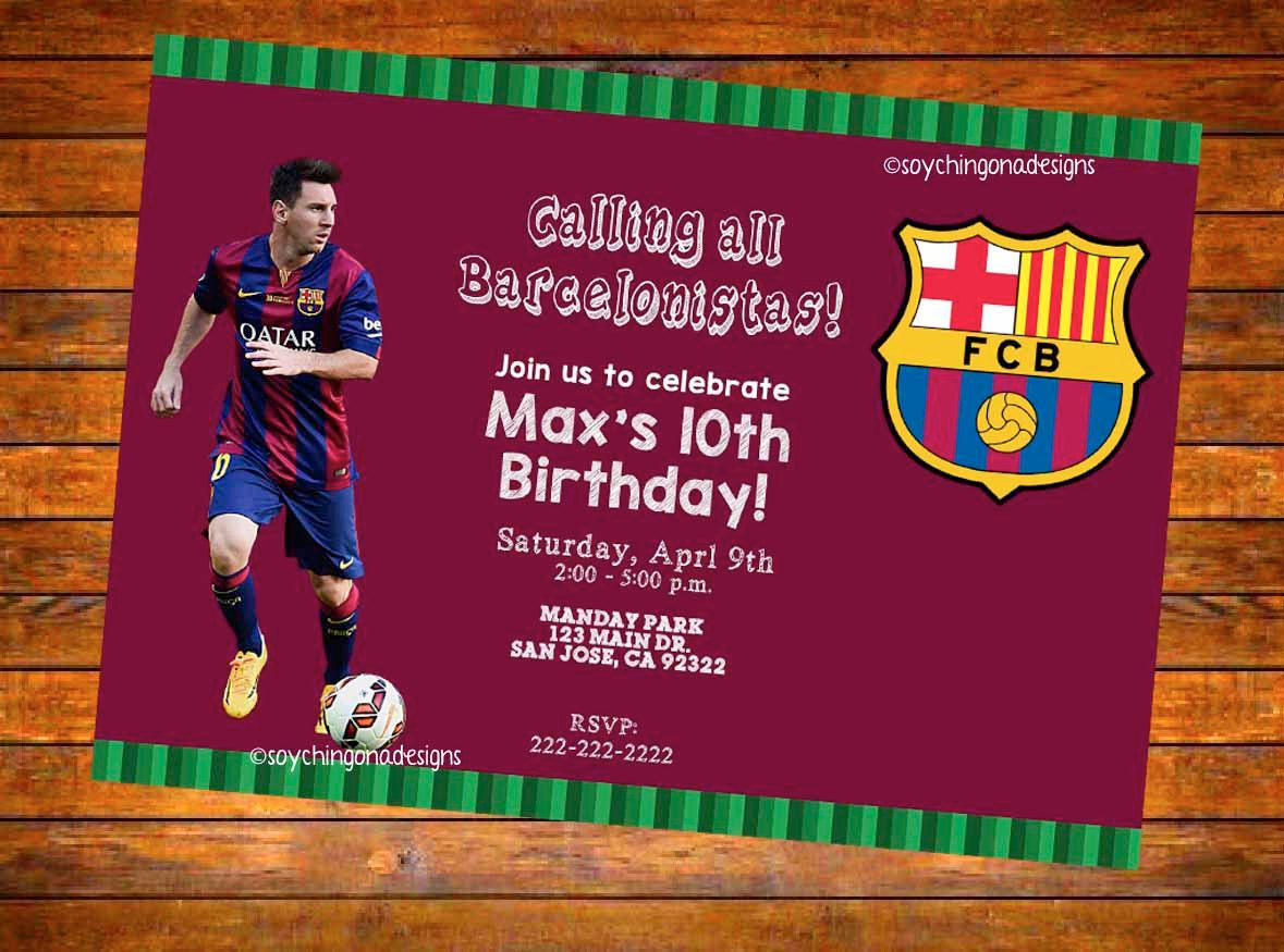 Barcelona FCB Futbol Soccer Personalized Invitation - Digital Download  (English or Spanish) by… b55e79e2df4