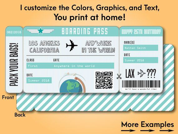Printable Custom Boarding Pass Surprise Airline Ticket Airplane Destination Trip Cruise Plane Fake T