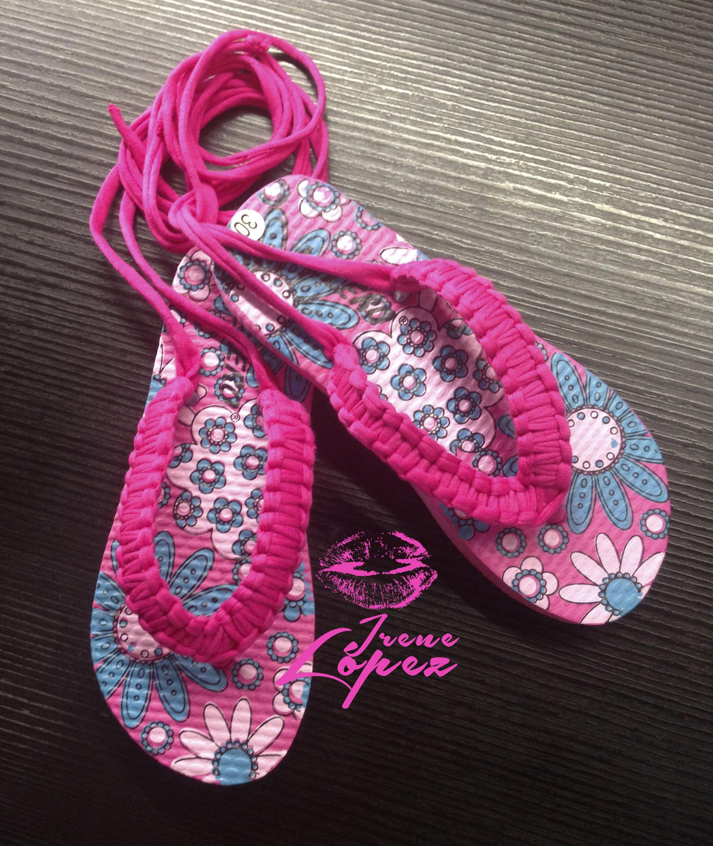 Sandalias para mujer y niña hechas a mano a crochet con trapillo ...
