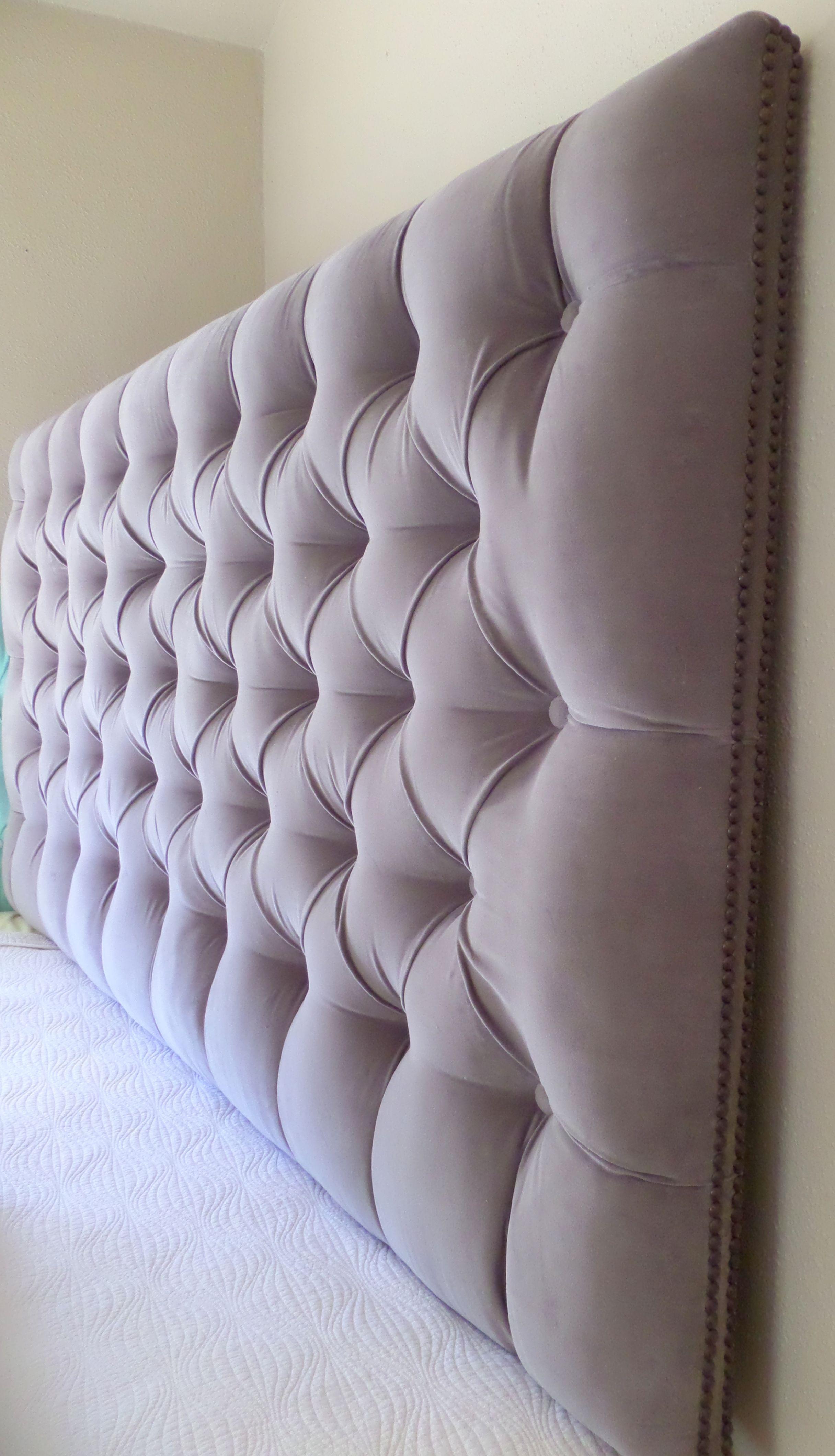 Gray Velvet Deep Tufted King Headboard Nailhead Trim Custom Wall