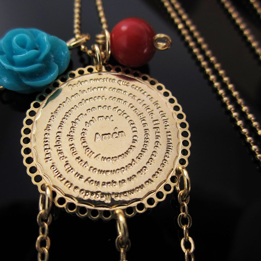 993945cec58d Collar Cadena Padre Nuestro Oro Golfi Cristal Swarovski Coral y Flor en  Resina Lindas Joyas de Moda Accesorios para mujer