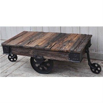 Lorry Rustic Recycled Timber Coffee Table with Cast Iron Wheels